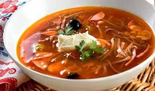 суп солянка рецепт классический с колбасой с фото