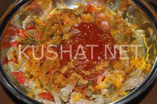 В мультиварке азу по-татарски с солеными огурцами из свинины рецепт с фото
