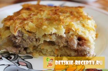 Рецепт бабки картофельной с фаршем в духовке с фото