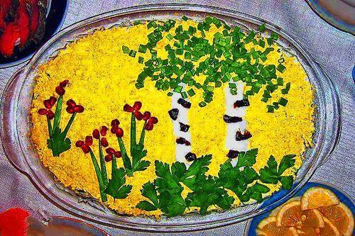 салат белая береза рецепт с курицей и грибами