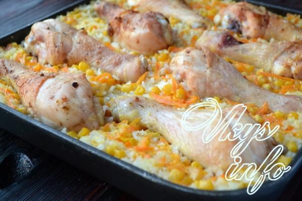Рис с куриными голенями в духовке рецепт с пошагово