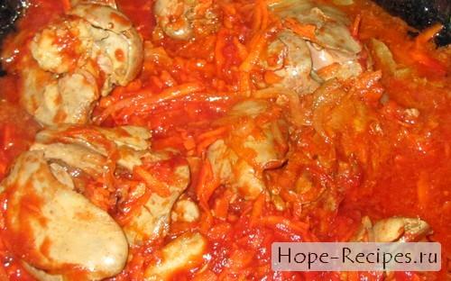 Как приготовить куриную печень с томатной пастой