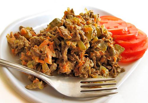 Салат из говяжьей печени с яйцом рецепт с очень вкусный с