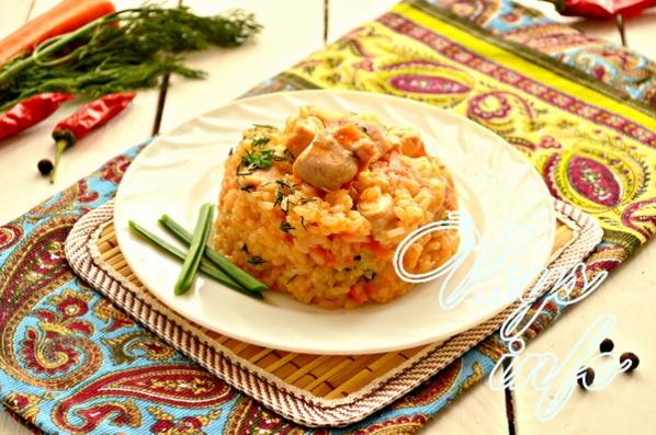 Рис с курицей на сковороде пошаговый рецепт