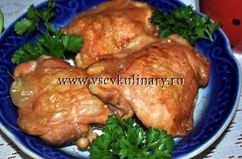 Куриные бедра с гарниром в духовке рецепты