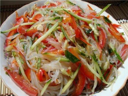 Салат из фунчозы с овощами рецепт пошагово в 3