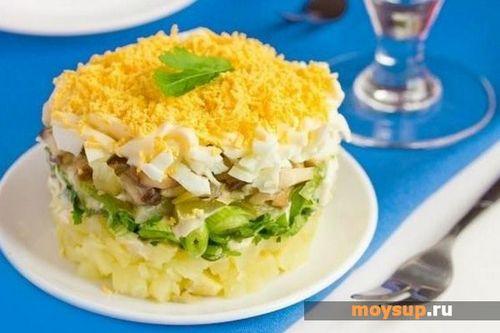 Салат сытный рецепт с с грибами и курицей
