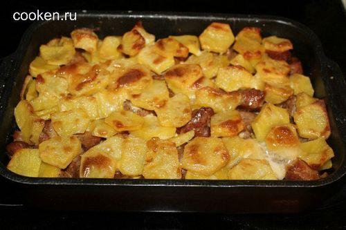 картошка с мясом в майонезе в духовке рецепт с фото