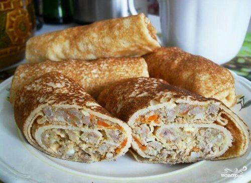 Рецепты блинов с фаршем пошаговый рецепт на сковороде